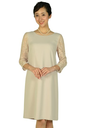 袖シースルーレースピンクベージュドレス
