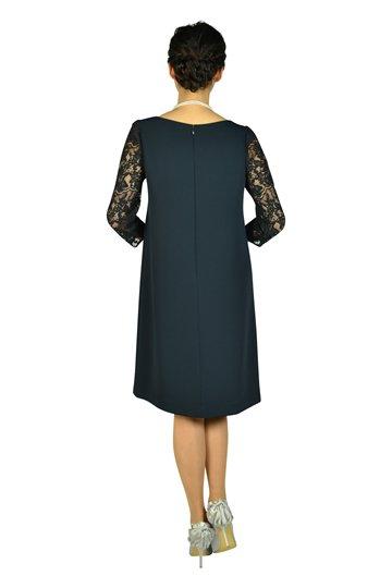 袖シースルーレースネイビードレス