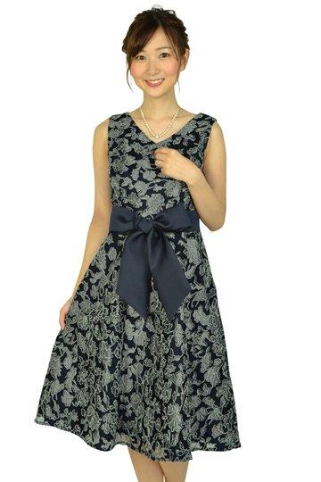 チュール刺繍レースネイビードレス
