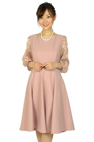 フラワーシースルー袖ピンクベージュドレス