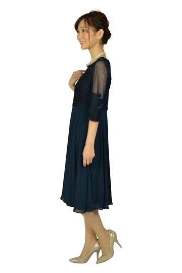 フラワーテープレースネイビードレス
