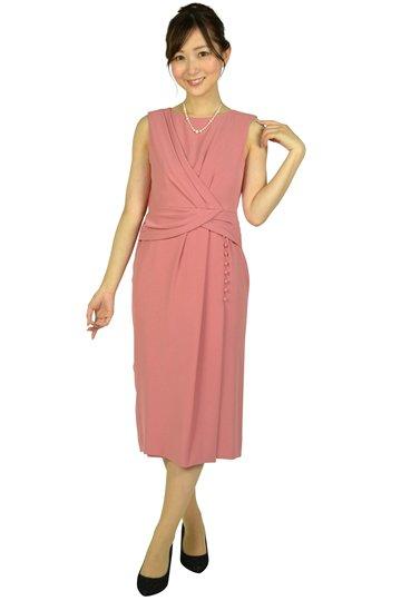 アシンメトリータックローズピンクドレス