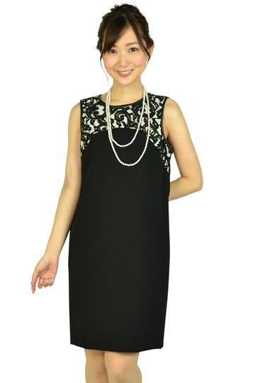 Iラインホワイト×レースブラックドレス