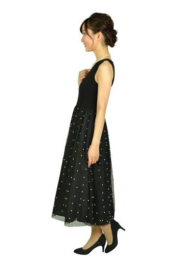 パールチュールブラックドレス