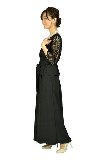 袖レースカシュクールブラックパンツドレス