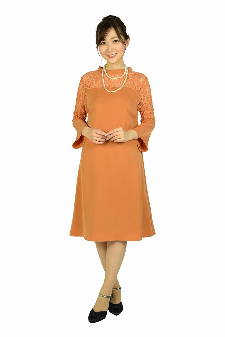 ベル袖テラコッタオレンジドレス