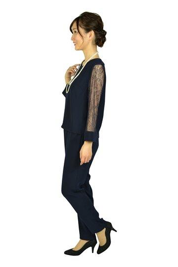 バックチャームネイビーパンツドレス