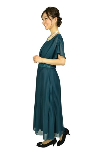 プリーツミディグリーンドレス