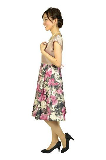 編上げフラワープリントピンクドレス