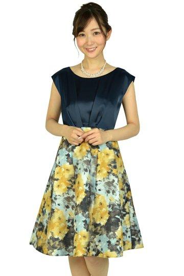 編上げフラワープリントネイビードレス