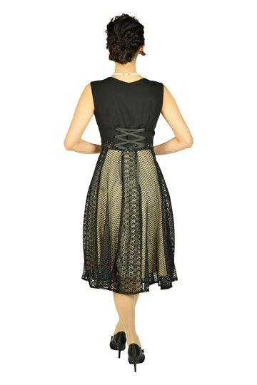 デザインレースベージュ×ブラックドレス