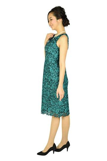リーフモチーフグリーンドレス