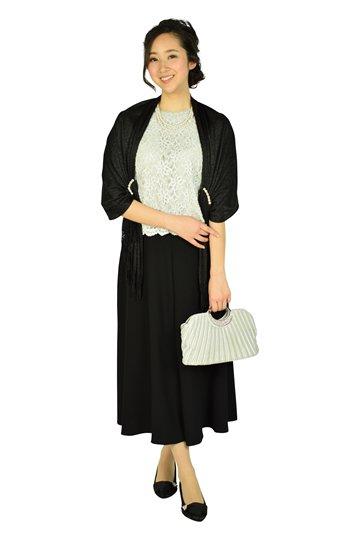 ライトグレーレース×ブラックワイドパンツドレス