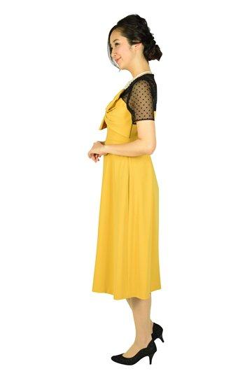 袖付きドットレースマスタードドレス