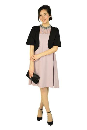 ネックビジュアッシュピンクドレス