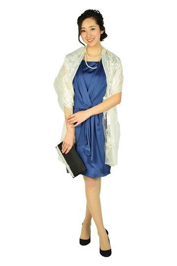 カシュクール光沢ネイビードレス