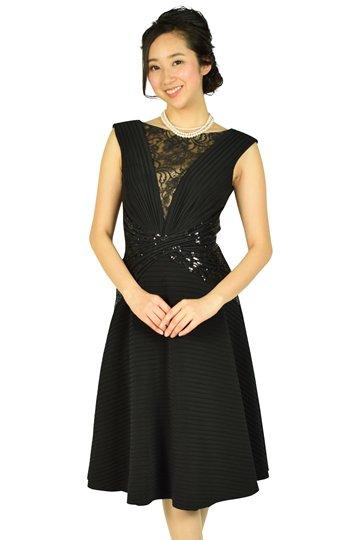 エレガントフレアスカートブラックドレス