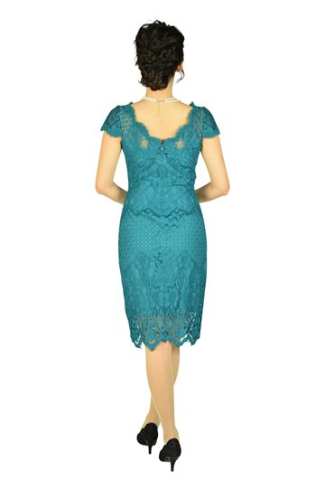 エレガント総レースブルーグリーンドレス