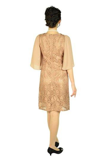チューリップ袖ブラウンベージュドレス