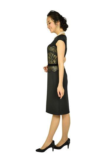 エレガントブラック×ゴールドタイトドレス