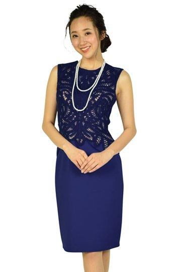 デザイン刺繍レースブルードレス