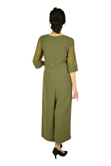 6分袖カーキワイドパンツドレス