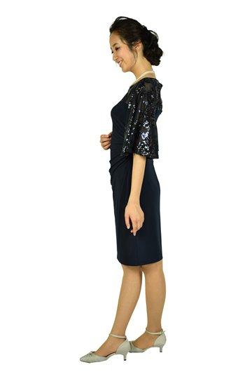 フレアスパンコールネイビードレス