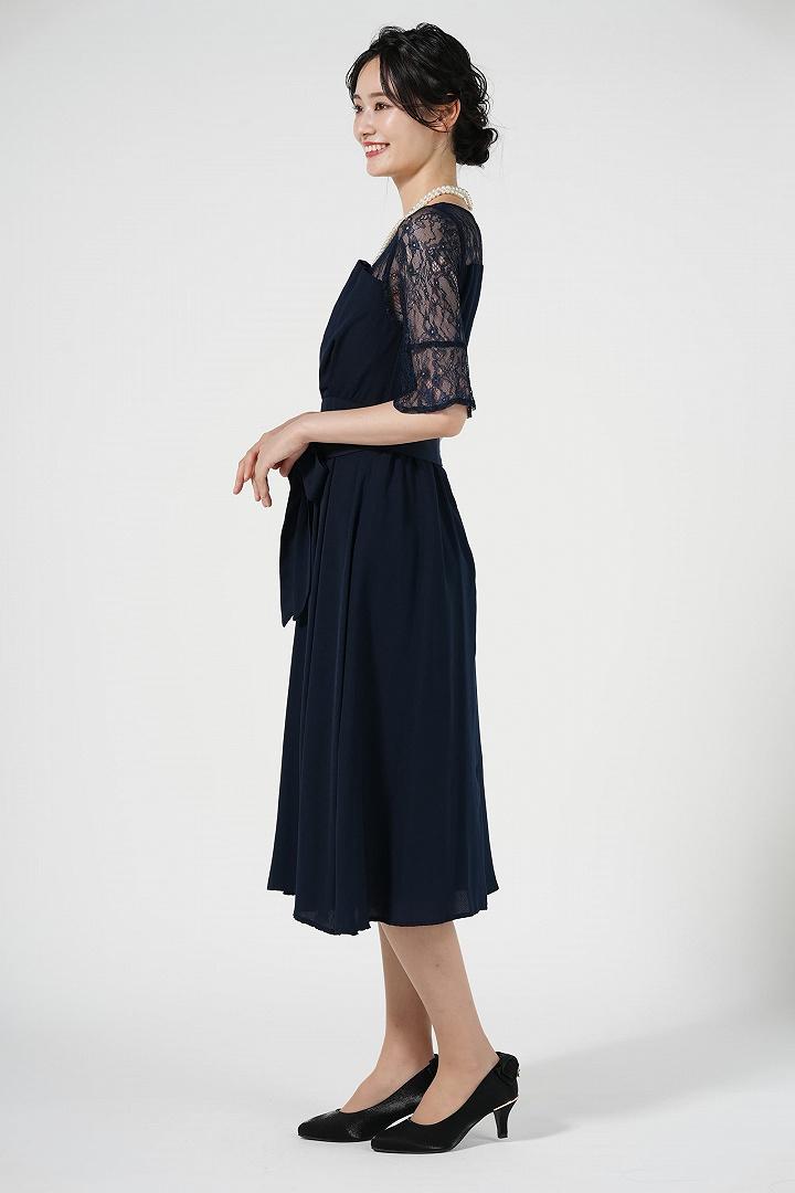 上品6分袖レースミディ丈ネイビードレス