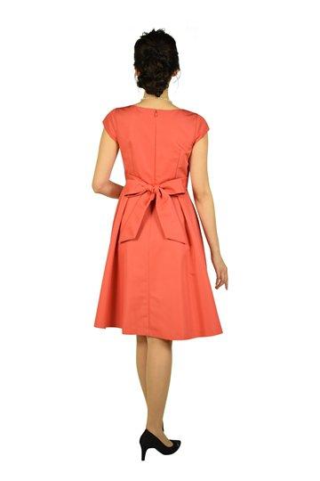 グログランタックピンクオレンジフレアドレス