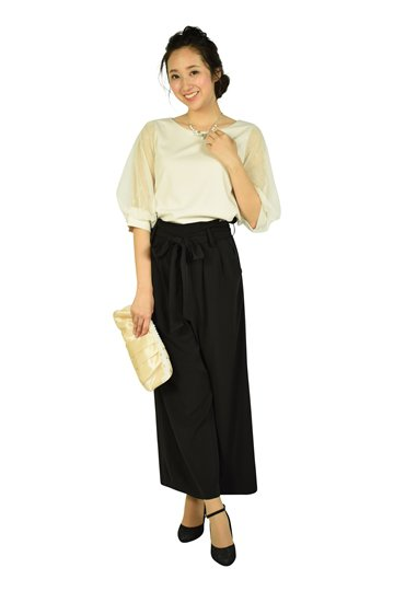 バルーン袖アイボリー×ブラックワイドパンツドレス