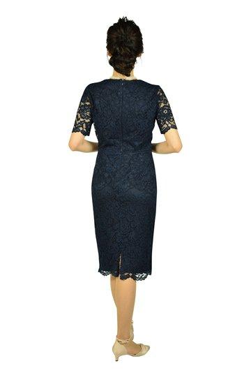 シースルー半袖レースネイビードレス
