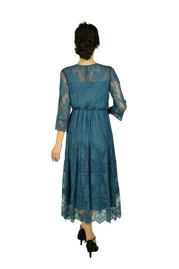 総レースエレガントブルーグリーンドレス