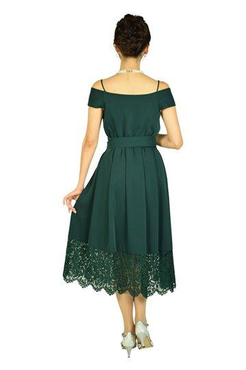 オフショルダーモスグリーンドレス