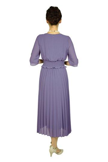 ミディ丈プリーツバイオレットドレス