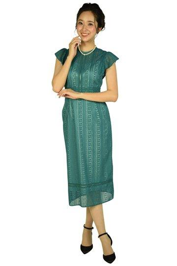 ストライプレースグリーンドレス