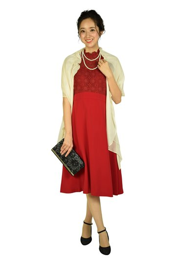 フラワーレースレッド系ドレス