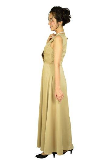 カシュクールベージュロングドレス