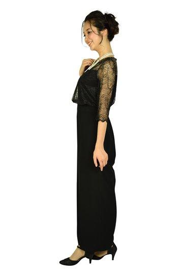 トップスレースワイドパンツブラックドレス