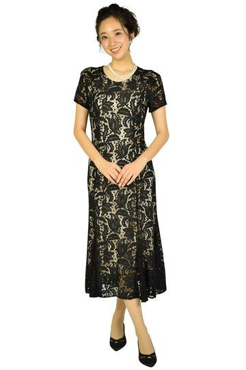 フラワーモチーフレースブラックドレス