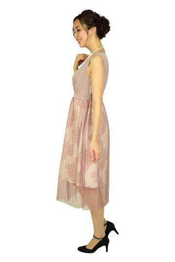 プリーツチュールピンクドレス