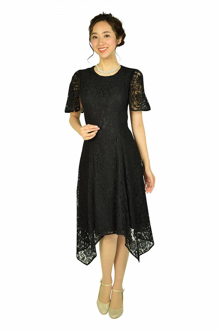 イレギュラーヘムレースブラックドレス