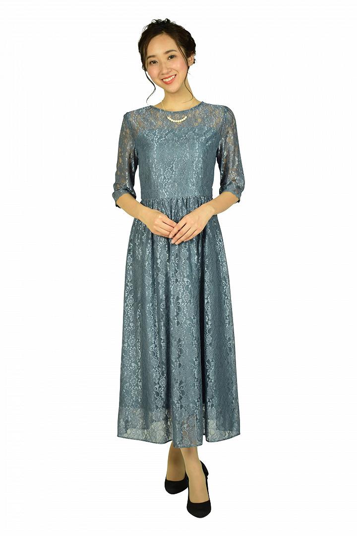 シャイニースモーキーブルーレースドレス