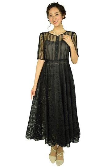 パネルレースブラックドレス