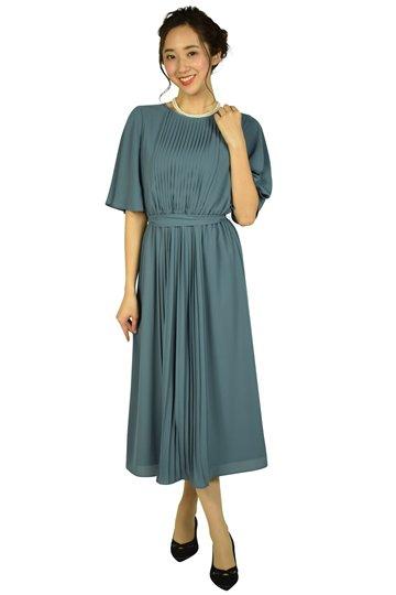 アッシュブループリーツドレス