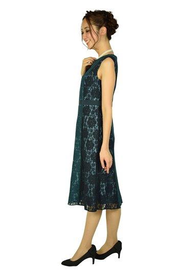 配色レースフレアグリーンドレス
