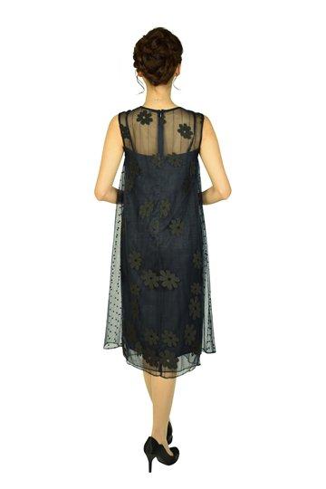 フラワー刺繍チュールネイビードレス