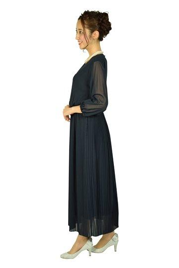 エアリー袖付きネイビードレス