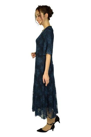 フラワーチュールレースネイビードレス