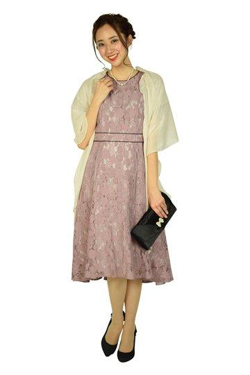 パフスリーブレースピンクドレス