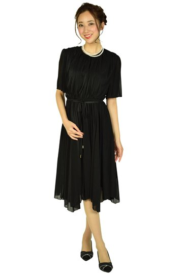 イレギュラーヘムシャイニーブラックドレス